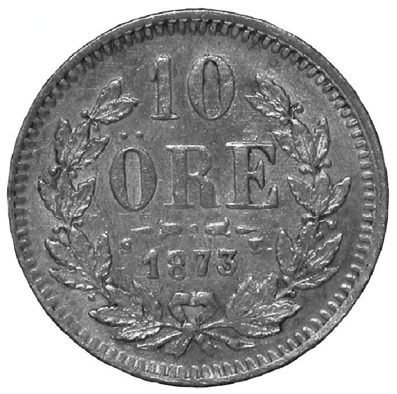 10 öre 1873 baksida