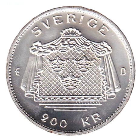 200-årsminnet av Gustav III:s död myntets baksida