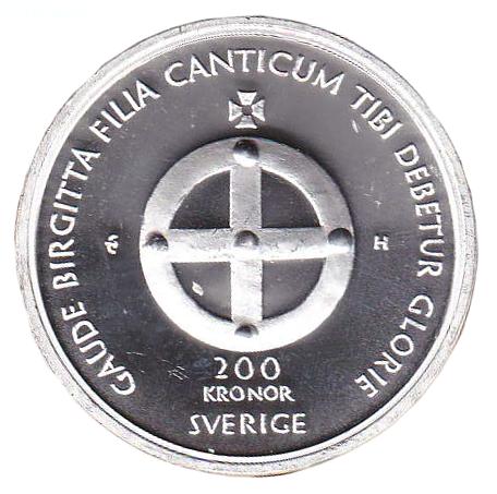 700-årsminnet av heliga Birgittas födelse myntets baksida
