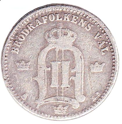 25 öre 1874-1878 baksida