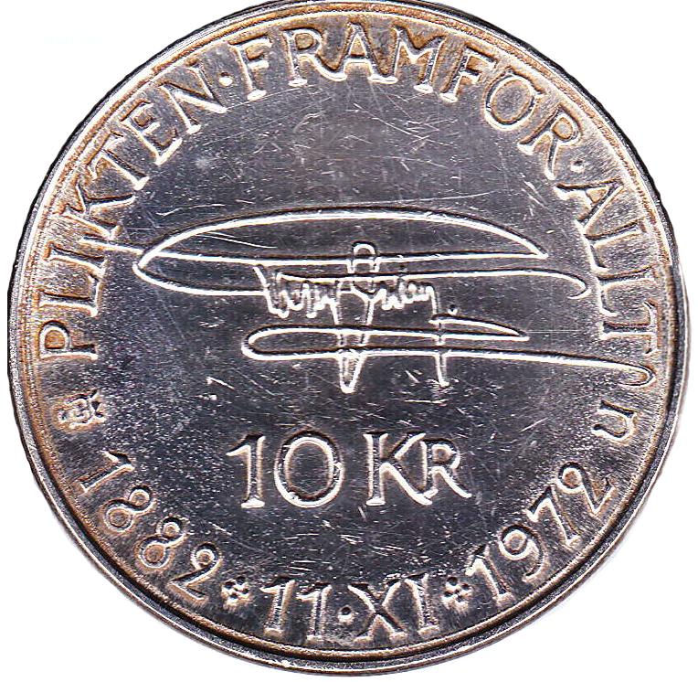 10 kr Gustav VI Adolf 90 år 1972 baksida
